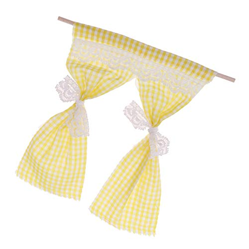 zbtrade Miniature Cute Lace Curtain Drapes DIY Dollhouse Garden Decoration 1:12 Scale Yellow