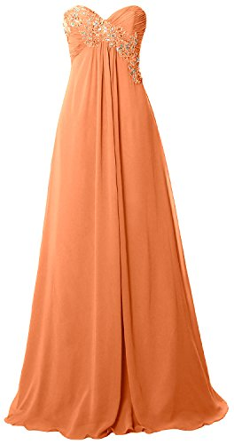 MACloth Women Strapless Empire Long Prom Dress Chiffon Formal Party Evening Gown Coral