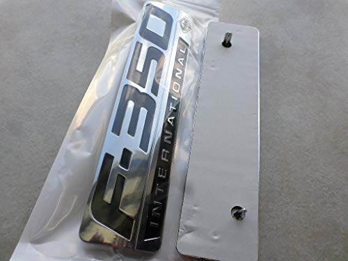 2 NEW (PAIR) SET CUSTOM CHROME F350 POWERSTROKE FORD INTERNATIONAL FENDER BADGES EMBLEMS