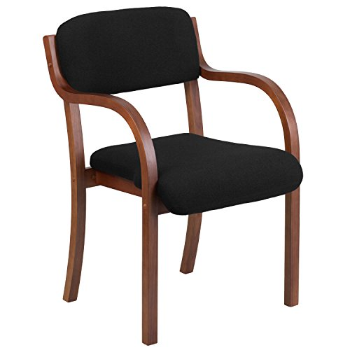 Flash Furniture Contemporary Fabric Wood Side Chair with Walnut Frame, Black (Arms Chair Wooden With)