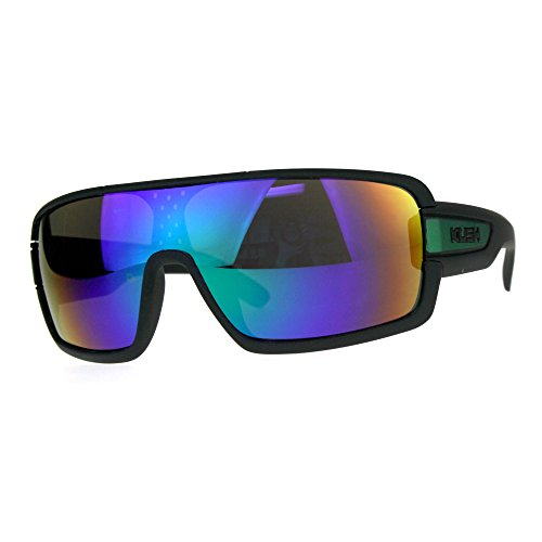 Mens Kush Robotic Shield Color Mirror Plastic Oversize Sunglasses Teal Green ()