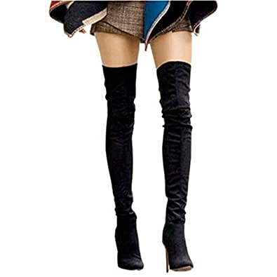 Shoe'N Tale Women Over The Knee High Stretchy Leather Thigh high Snow Boots (4 B(M) US, Black)