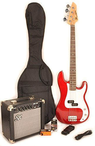 Ursa 1 RN PK CAR Red Bass Guitar Package w/BA1565 Amp, Carry Bag & On Line Video Instruction by SX