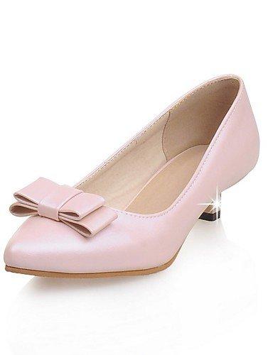 GGX/Damen Schuhe Patent Leder Sommer/spitz Toe Heels Büro & Karriere/Casual Low Ferse Schleife pink/weiß/mandel almond-us10.5 / eu42 / uk8.5 / cn43
