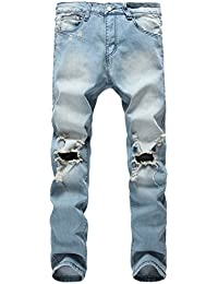 Men's Ripped Skinny Distressed Destroyed Slim Jeans with Holes