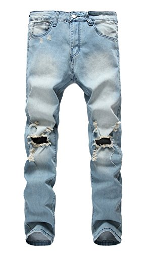 NITAGUT Men's Light Blue Ripped Skinny Distressed Destroyed Slim Jeans Pants with Holes