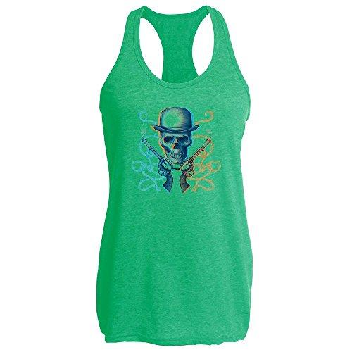 Pop Threads Gunslinger Skull Heather Kelly L Womens Tank (Female Gunslinger Costumes)