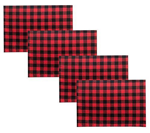 Red Place Setting - Lintex Red and Black Buffalo Holiday Cottage Check Fabric Placemat Set, 100% Cotton, Christmas Rustic Buffalo Plaid Placemats, Set of 4 Fabric Place Mats