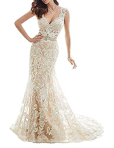 d01807395f2 YSMei Womens Illusion Back V Neck Mermaid Wedding Dress for Bride Lace Formal  Gown with Train