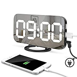 Modern LED Digital Alarm Clock, ICE FROG 6.5 Large Digit Mirror Clock Bedroom Nightstand Clock with Dual USB Charger Ports, Adjustable Brightness, Big SNOOZE Button - for Travel Home Bedside Decor