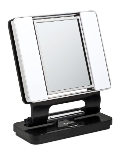 OttLite Natural Daylight Makeup Mirror l Black/Chrome l 5x & 1x Magnification Dual-Sided Mirror l Multiple-Angle Options l Low Heat & Energy Efficient