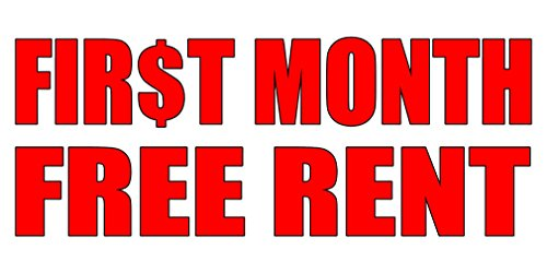 First Month Free Rent With Dollar Icon Style 2 Decal Sticker Retail Store Sign Sticks To Any Surface