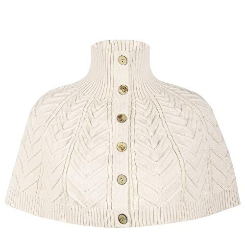 Ribbed Turtleneck Poncho - PrettyGuide Women's Cape Sweater Cropped Poncho Shawl Turtleneck Shrug Sweater Beige M