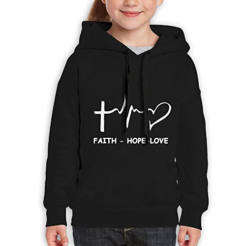 Price comparison product image FDFAF Teenager Youth New Style Faith Hope Love Christian Mountaineering Casual Style Hoodie Sweatshirt S Black