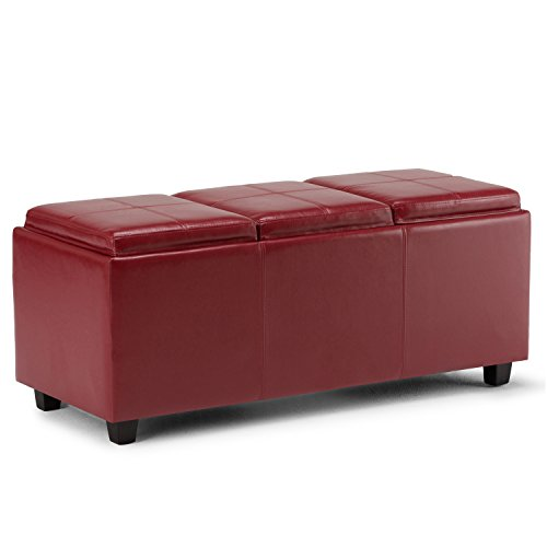 Simpli Home 3AXCAVA-OTTBNCH-02-RD Avalon 42 inch Contemporary  Storage Ottoman in Red Faux Leather