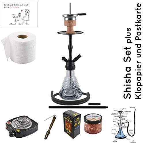 Amy Deluxe Shisha Set mit Shisha Stillness klick II, Kohleanzünder, Naturkohle, Kaminkopf, Dampfsteine, Reinigungstabs…