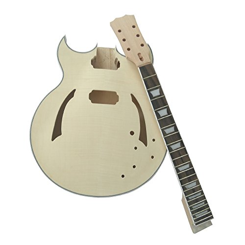 Kalaok Unfinished DIY Electric Guitar Kit Semi Hollow Basswood Body Rosewood Fingerboard Maple Neck