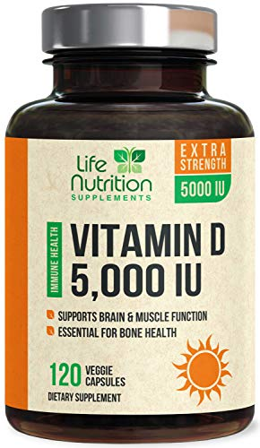 Vitamin D – Extra Strength Vitamin D3 5000 IU / 125mcg, Made in USA, Bone Supplement Pills for Teeth, Heart & Immune Support for Men & Women – Non-GMO & Gluten Free – 120 Capsules