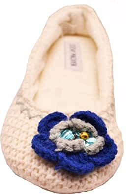 Steve Madden Women's Solid Knit Moccasin Spa Slipper Ivory Xl (11-12)