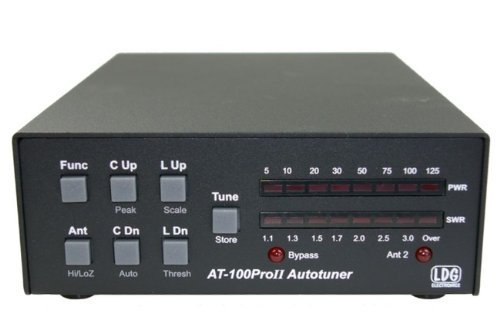 LDG Electronics AT-100PROII Automatic Antenna Tuner 1.8-54 MHz, 1-125 Watts, Updated features include an LED indicator for antenna selection and an LED to indicate when in bypass .2 Year Warranty