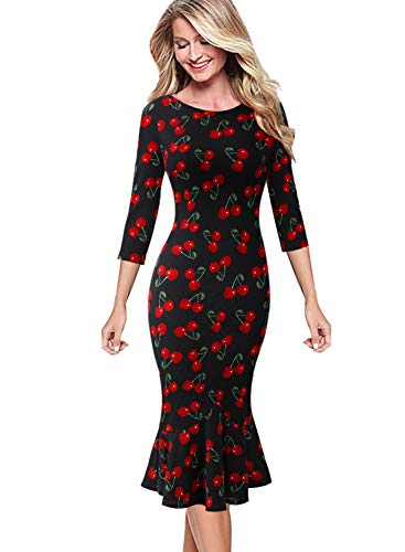 - VFSHOW Womens Elegant Vintage Cocktail Party Mermaid Midi Mid-Calf Dress 1656 BLK XXL