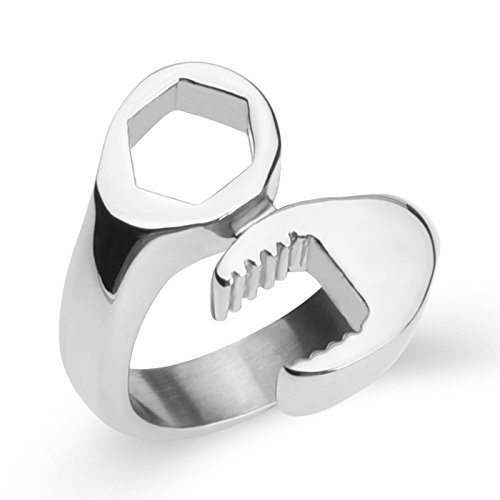 Aooaz Jewelry Stainless Steel Ring for Men Tool Wrench Shaped Thumb Ring Silver Punk Ring US Size 10 by Aooaz