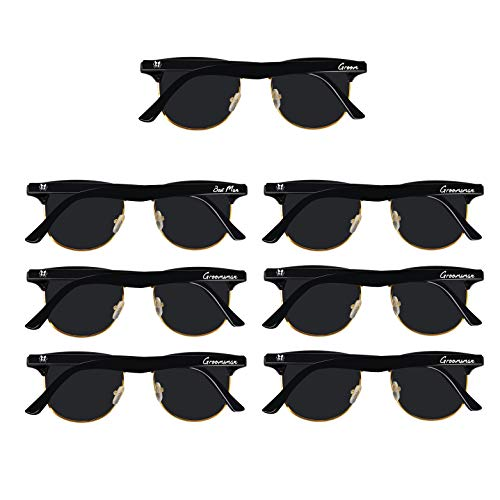 Bachelor Party 7pcs Clubmaster Weddings Gift Sunglasses for Groom, Best man, ()