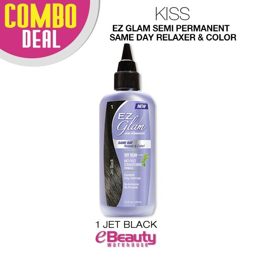 (2 Packs) Kiss EZ Glam Semi Permanent Same day Relaxer & Color (S1-Jet Black)