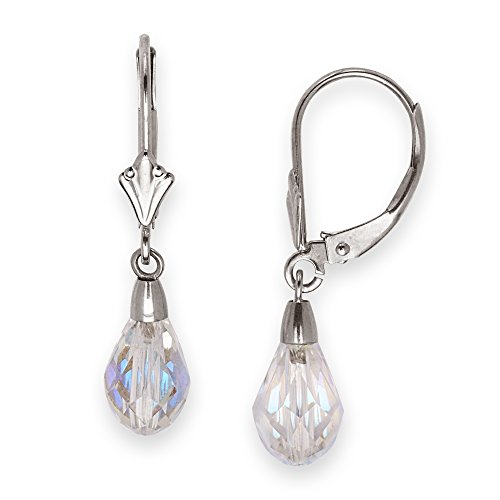 Jewelryweb Solid 14k Yellow or White Gold Polished Tear-Drop Faceted Crystal Leverback Earrings (6mm x 28mm) (white-gold)