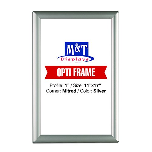 11 x 17 Poster Frame, 1 Profile, Mitered Corner, Aluminum, Wall Mounted - Silver