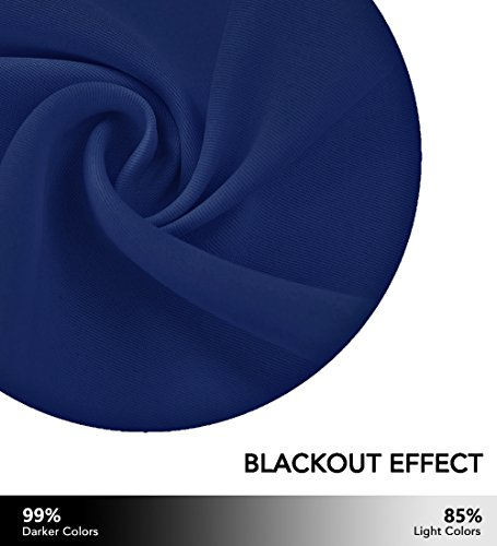 NICETOWN Blackout Curtain Panels Grommet - All Season Eyelet Top Blackout Draperies for Bedroom/Living Room/Glass Door, 1 Pair of 52 x 45 Inches in Royal - Navy Blue - bedroomdesign.us