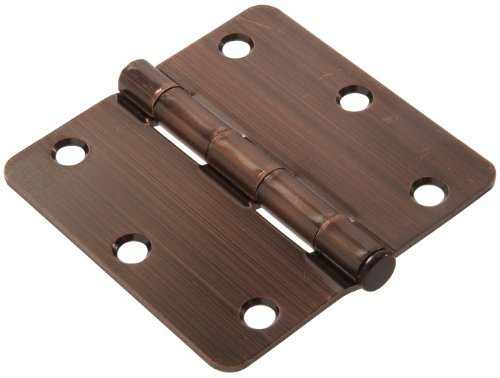 - The Hillman Group 852796 3-1/2 Residential Door Hinge - 1/4 Round Corner - Removable Pin - Full Mortise - Antique Bronze 1-Pack (2)
