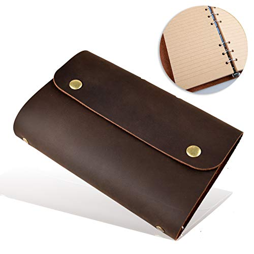 Leather Journal Refillable Notebook, with Pen Loop Writing Bound Diary Book for Men Women, Lined Rule Paper Handmade Genuine Leather Travel Notepad Cover, 160 Pages 7 x 5