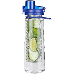 Infuser Water Bottle Leak Proof Flip-top Sport Water Bottle BPA-Free Tritan 25 Oz (Blue)