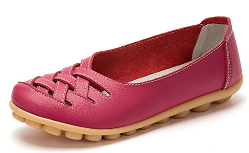 1 Casual Loafers Slip Shoes On Women's Out Rose Flats Driving Moccasin Labato Leather Cut SxqnzSEO