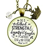"""24"""" She Is Clothed In Strength And Dignity Necklace Faith Jewelry For Women Proverbs 31 25 Christian Pendant Gift Crown Charm"""