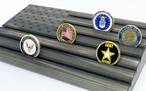 - Black American Flag Challenge Coin Display - Wood Engraved - Military Challenge Coin Display - Coin Holder