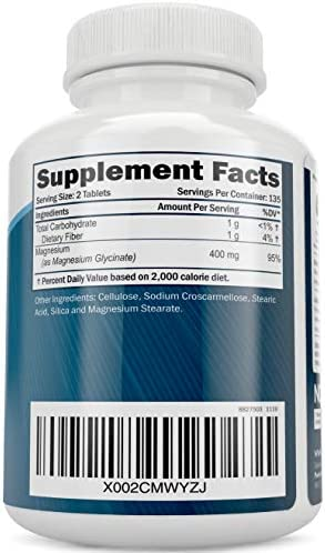 Magnesium Glycinate 400mg - 100% More 270 Magnesium Tablets (not Capsules), Highly Bioavailable, Non Buffered, Vegan and Vegetarian - Improved Sleep, Stress Relief & Cramp Defense 5