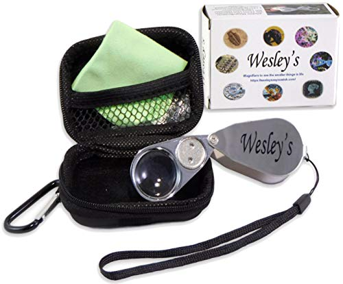 40X Jewelers Loupe Magnifier LED/UV Illuminated, Jewelers Magnifying Glass with Case for Gardening, Kids, Coin, Stamp and Rock Collecting by Wesley's as you wish ()