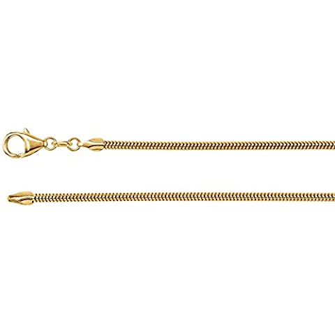 2.0 mm Solid, Round, Snake Chain in 14k Yellow Gold ( 18-Inch ) (Used 14k Gold Chain)