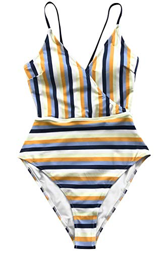 c10901740f949 CUPSHE Women s Blue and Yellow Stripe High Leg Cut One-Piece Swimsuit