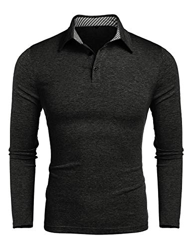 Mens Active Wear Golf Polo Shirts Elastic Dry Fit Long Sleeve Polo T Shirt Dark Grey XL