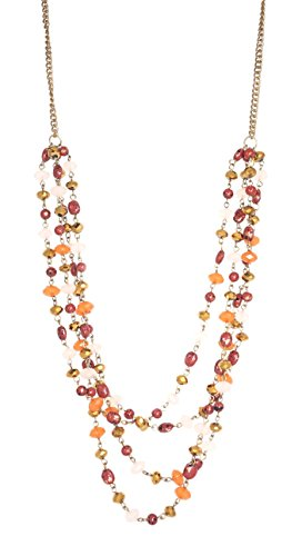 "Zad Jewelry ZAD Long Multi-Strand Amber-colored Beaded Layered Necklace, 24""- 26"""