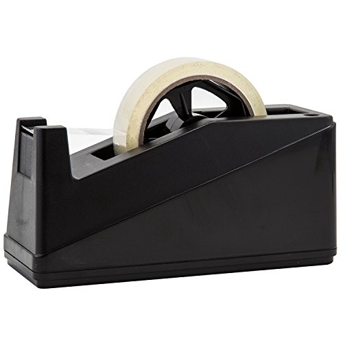 Desktop Tape Dispenser Adhesive Roll Holder (Fits 1'' & 3'' Core) by Royal Imports with Weighted Nonskid Base, Black by Royal Imports