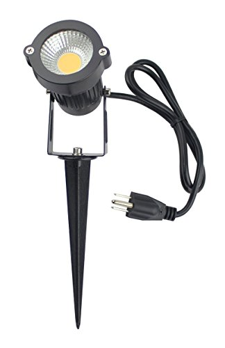(J.LUMI GSS6005 LED Landscape Light 5W, 120V AC, 3000K Warm White, Outdoor Use, Metal Ground Stake, Landscape Flood Light, Flag Light, UL Listed 3-ft Cord with Plug)