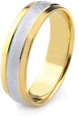 14k Gold Men's Two Tone Comfort-Fit Wedding Band with Satin Finish Center & Polished Beveled Edges (7mm)