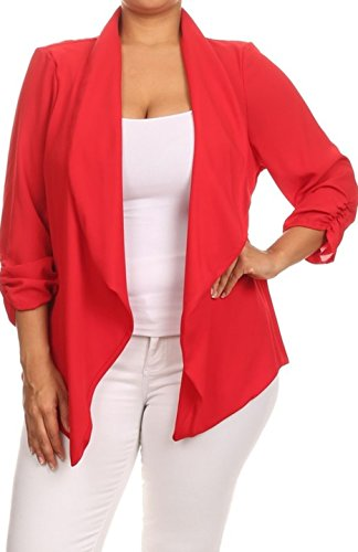 2LUV Plus Women's Open Front Gathered Sleeve Plus Size Blazer – X-Large, Red