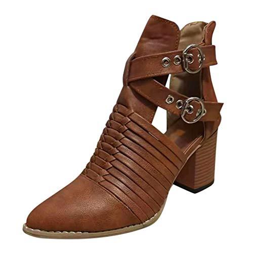 Huaze Women Short Boots Ladies Fashion Autumn Ankle Shoes Boots Solid Color Single Shoes Rome Buckle Strap Boots
