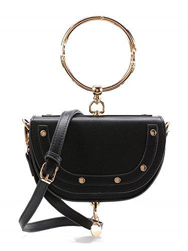 Withchic Black Women's Shoulder Saddle Handbag Bracelet Leather Crossbody Bag