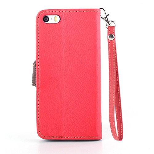 Schutzhülle iPhone 5C , LH Rot Blätter PU Leder Portemonnaie Hülle Case Cover Wallet Flip Kasten Abdeckung Magnetischer Fall Schale Tasche für Apple iPhone 5C
